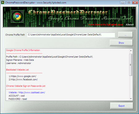 how to find stored password on crhome