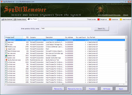 SpyDLLRemover with Advanced 'DLL Tracer' Feature