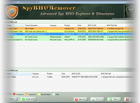 Enhanced SpyBHORemover with Backup & Restore Feature