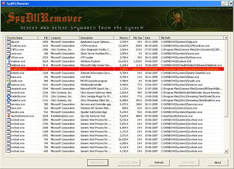 SpyDLLRemover : Detect & Delete Spywares From The System