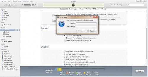 Encrypted iTunes backup